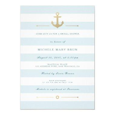 Aqua Blue Striped Nautical  Invite