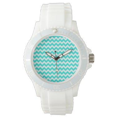 Aqua Color Chevron; zig zag Wristwatch