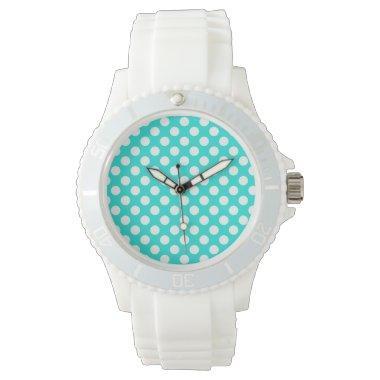 Aqua Color Polka Dots Wrist Watch