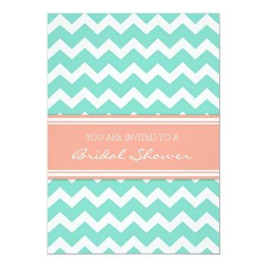 Aqua Coral Chevron  Invitation