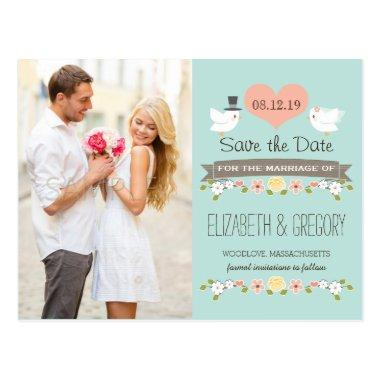 AQUA LOVE BIRDS DOVE SAVE THE DATE POSTInvitations