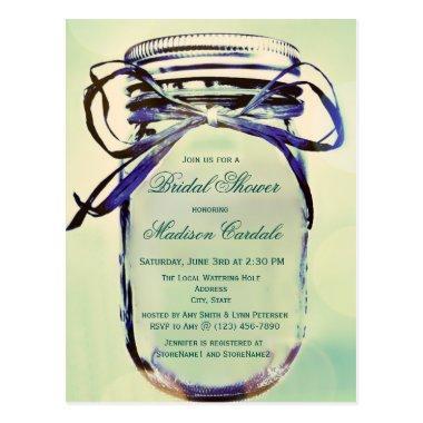 Aqua Mason Jar  Invitation POST