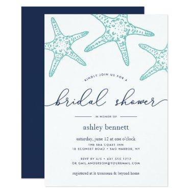 Aqua & Navy Starfish Bridal Shower Invitations