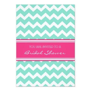 Aqua Pink Chevron  Invitation