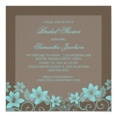 Aqua Rustic Floral  Invite
