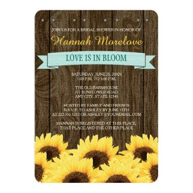 AQUA RUSTIC SUNFLOWER  INVITE
