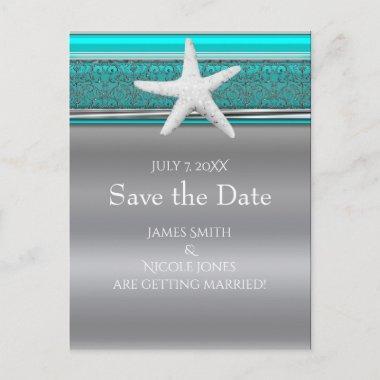 Aqua & Silver Starfish Beach Save the Date Announcement Post