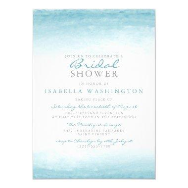 Aqua Tides | Watercolor Bridal Shower Invitations