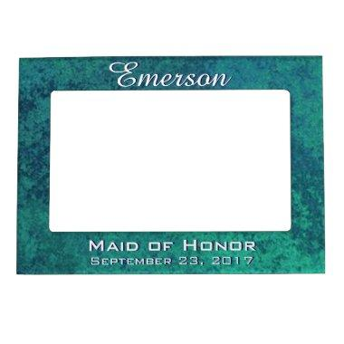 Aquamarine Bridal Party Iridescent Green Teal Blue Magnetic Frame