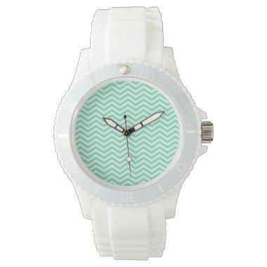 Aquamarine Chevron; zig zag Wristwatches