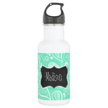 Aquamarine Paisley; Retro Chalkboard Water Bottle