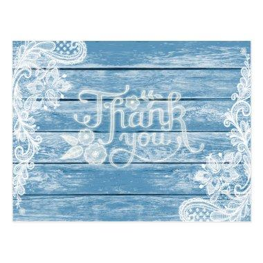 Aquarium-Blue Wood and Lace Wedding Thank You Post