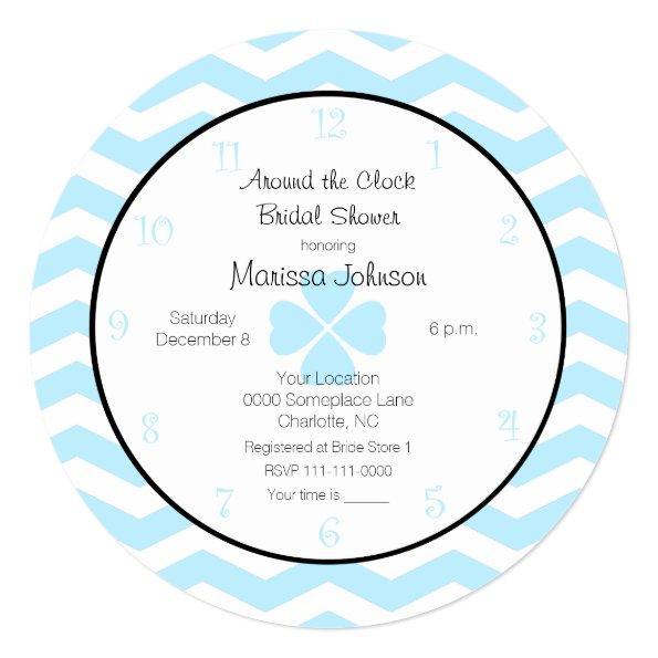 Around the Clock in Blue Unique Bridal Shower – Around the Clock Wedding Shower Invitations