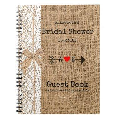 Arrow Burlap Lace Image  Guest Book |