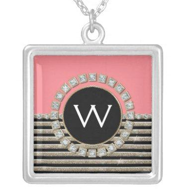 Art Deco Modern Horizontal Stripe Glitter Look Silver Plated Necklace