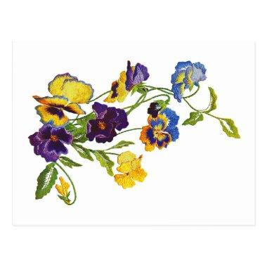Art Nouveau Embroidered Pansies PostInvitations