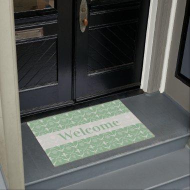Art Nouveau Spring Bulbs – Monogram - Mint White Doormat