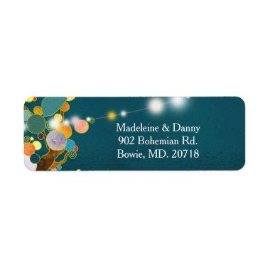 Artistic Country trees Teal Wedding Return Address Label