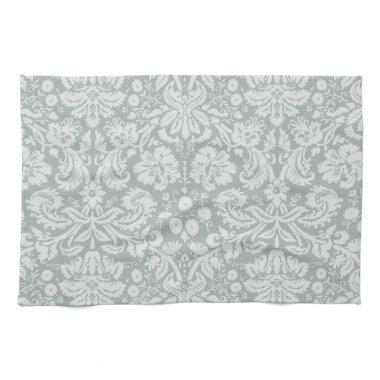Ash Gray; Grey Damask Pattern Hand Towel