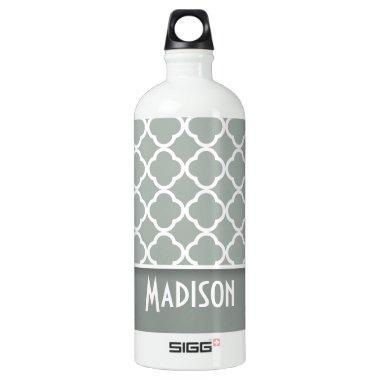 Ash Gray; Grey Quatrefoil; Personalized Water Bottle