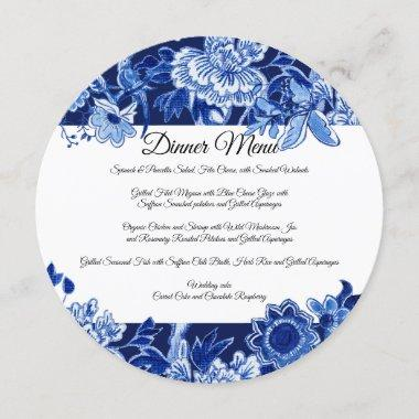 Asian Chinoiserie Navy Blue Floral Dinner Menu Invitations