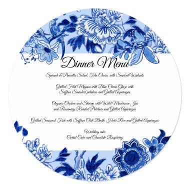 Asian Influence Sky Blue Floral Dinner Menu Invitations