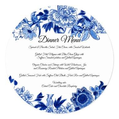 Asian Influence White Blue Floral Dinner Menu Invitations