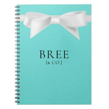 Audrey Teal White Bow Modern Glam Wedding Bridal Notebook