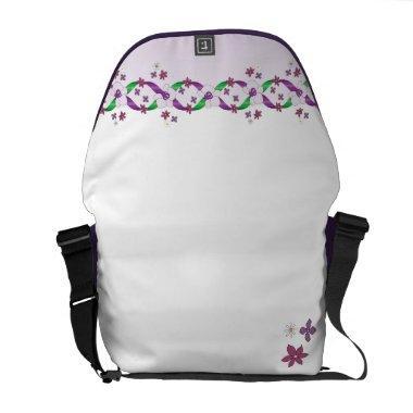 Austen Violet Ribbons & Flowers Rickshaw Messenger Messenger Bag