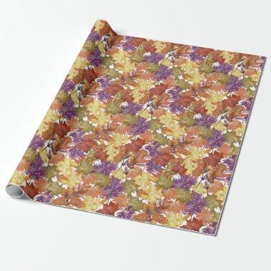 Autumn Fall Season Rustic Tree Leaves Wrapping Paper