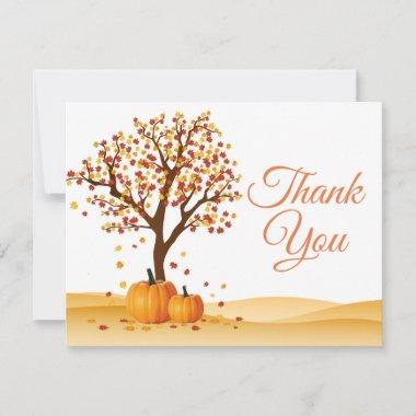 Autumn Fall Trees Pumpkin Thank You Invitations