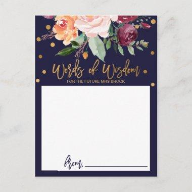 Autumn Floral Bridal Shower Words of Wisdom Invitations