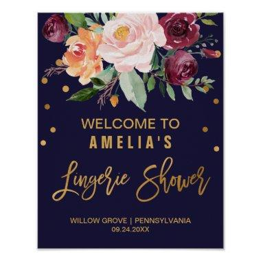 Autumn Floral Lingerie Shower Welcome Poster