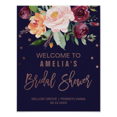 Autumn Floral Rose Gold  Welcome Poster