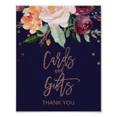 Autumn Floral Rose Gold  and Gifts Sign