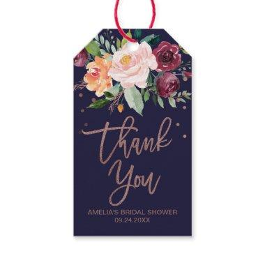 Autumn Floral Rose Gold Thank You Gift Tags