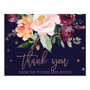 Autumn Floral Rose Gold Thank You PostInvitations