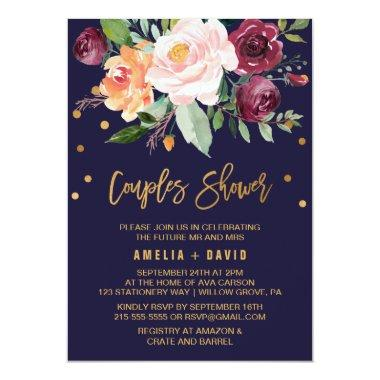 Autumn Floral with Wreath Backing Couples Shower