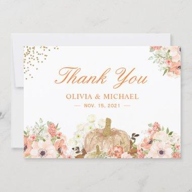 Autumn Gold Glitters Pumpkin Floral Thank You Invitations
