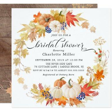 Autumn Leaves Pumpkins Bridal Shower Invitations