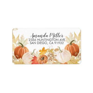 Autumn Leaves Pumpkins Return Address Label