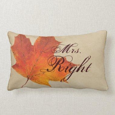 Autumn Orange Fall in Love Leaves Wedding Lumbar Pillow