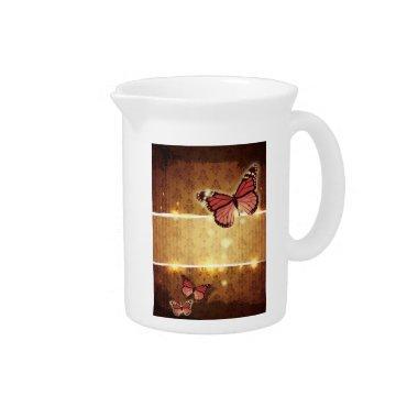 autumn orange glamour flourish swirls butterfly pitcher