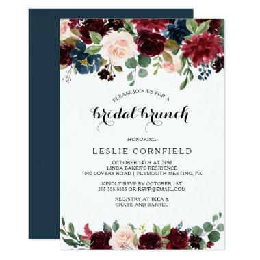Autumn Rustic Dazzling Burgundy Bridal Brunch Invitations