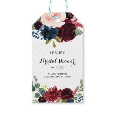 Autumn Rustic Dazzling Burgundy Bridal Shower Gift Tags