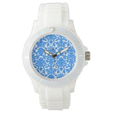Azure Blue Damask Pattern Watch