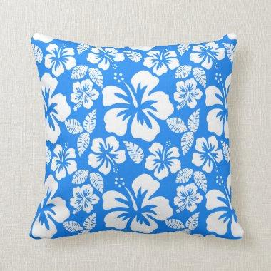 Azure Blue Tropical Hibiscus Throw Pillow