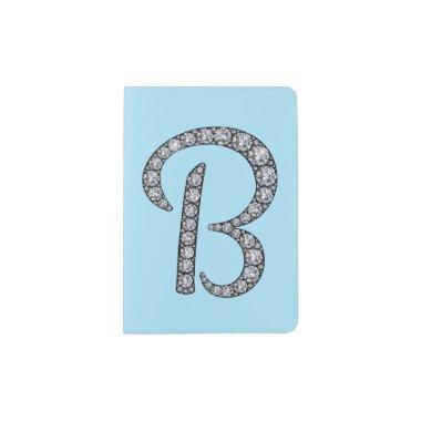 B monogram bling passport holder