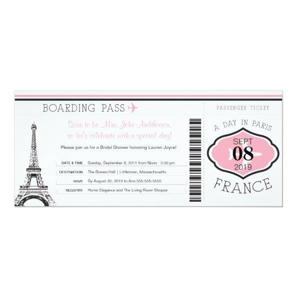 Baby Shower Boarding Pass to Paris