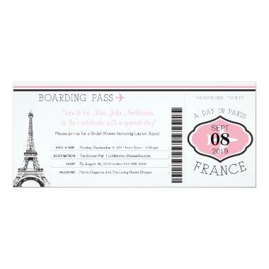 Baby Shower Boarding Pass to Paris Invitations